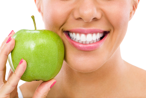 teeth and apple
