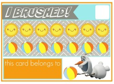 Download this free summer Olaf brushing punchcard on the Burg Pediatric Dentistry blog