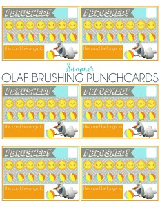 Free Summer Olaf Brushing Punch Card Printable to encourage kids to brush and floss this summer!